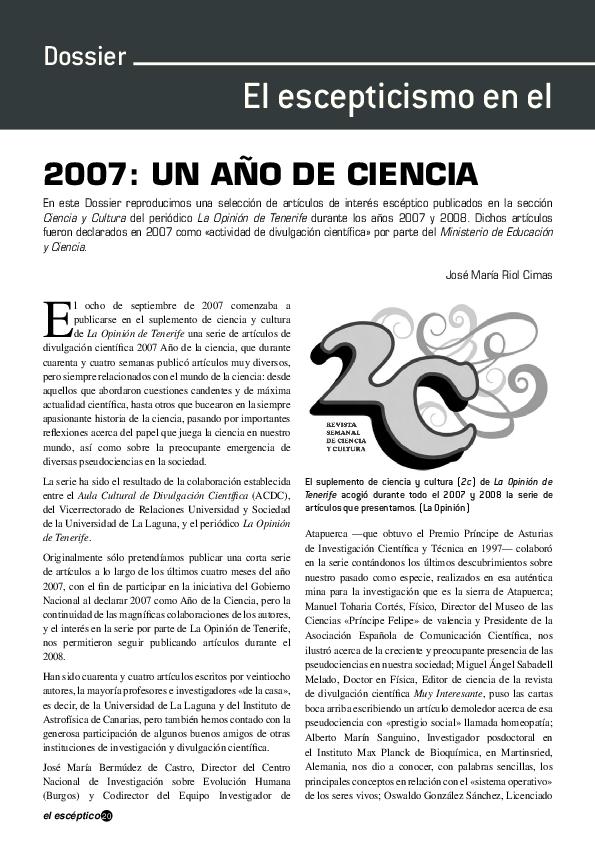 2007 un a o de ciencia arp sociedad para el avance del for Que es un articulo cultural o de espectaculos