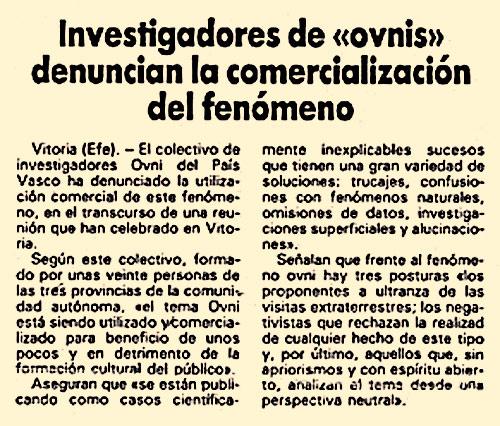 Artículo en prensa - EFE - 18-02-1985